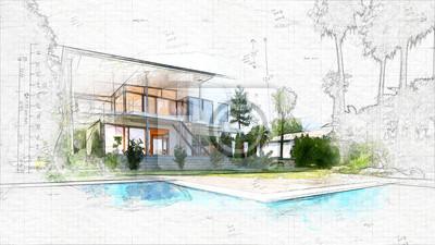 Obraz architektonická skica domu