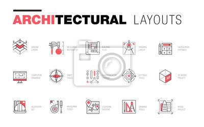 Obraz Architektonické rozvržení v kompozici Trendy polygonální linie. Tenké ikony budov. Odběr profesionálních projektů. Úžasný geometrický styl kontury s piktogramem budoucnosti pro váš design.