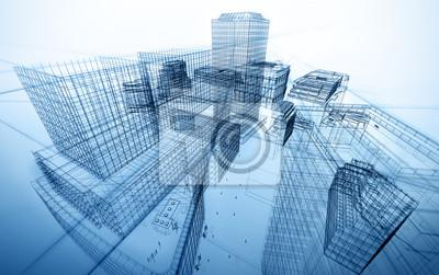 Obraz architektura abstraktní modrák