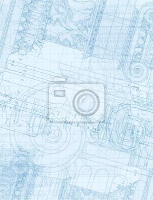 Architektura Blueprint - Ruční kreslení skica iontové objednávky