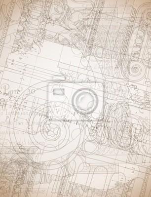Architektura Blueprint - Ruční remíza skica