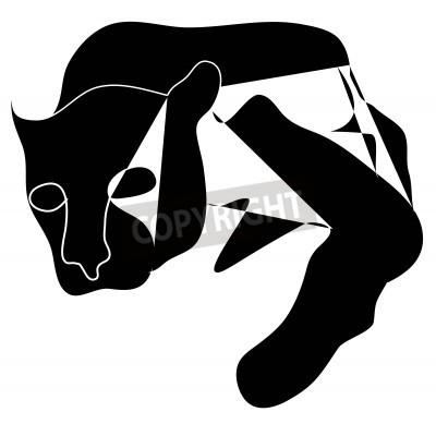 Obraz Art cubism black silhouette of black pantera