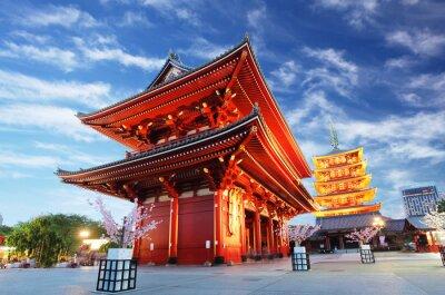 Obraz Asakusa temple with pagoda at night, Tokyo, Japan
