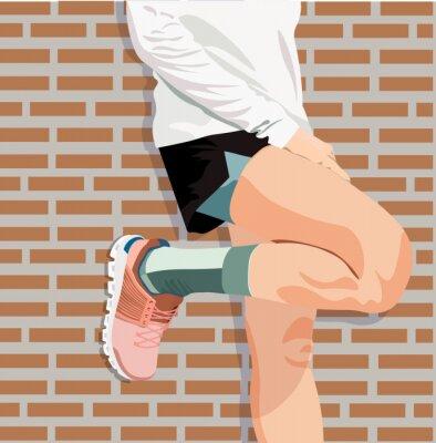 Obraz athlete's feet in pink sneakers