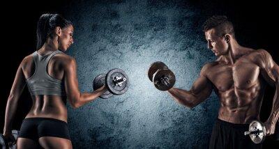 Obraz Atletický muž a žena s činky.