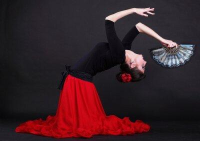 Obraz Atraktivní španělština mladá žena tančí flamenco na černém zázemí
