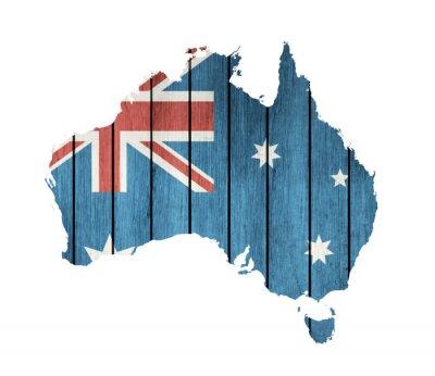 Obraz Australský Mapa s dřevěnou vlajkou