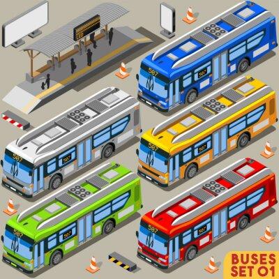 Obraz Autobus Set 01 Vehicle Isometric