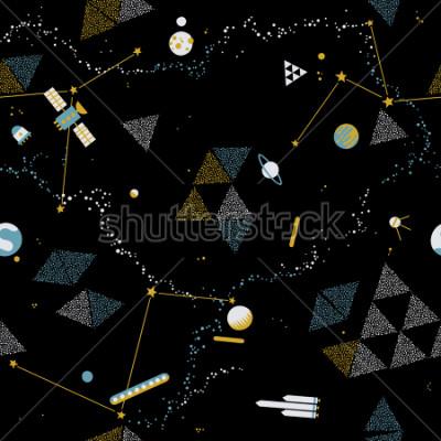 Obraz Baby jednoduchý vzor - prostor, kosmické lodě a planety s hvězdami. Módní dětské vektorové pozadí.