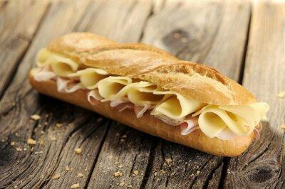 Obraz Bageta chléb se šunkou a sýrem
