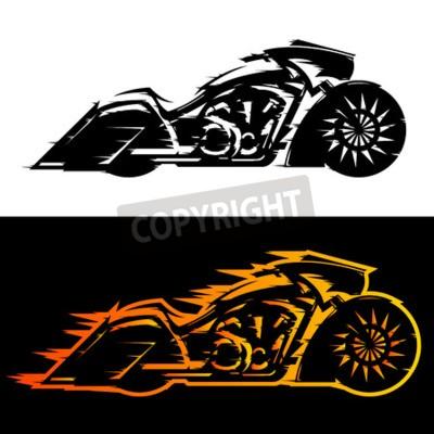 Obraz Bagger styl motocyklu vektorové ilustrace, Baggers vlastní motocykl pokryté plameny