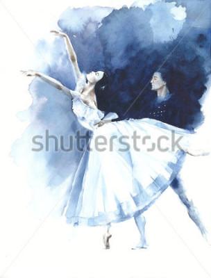 Obraz Baletka tanec baletka Giselle akvarel malba ilustrace pohlednice