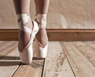 Obraz Baletní obuv na dřevěné podlahy