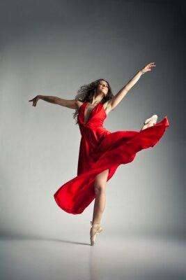 Obraz Baletní tanečník na sobě červené šaty nad šedé