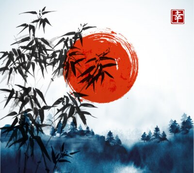 Obraz Bambusové stromy, les v mlze a velká červená rukavice, kreslená inkoustem. Tradiční orientální inkoustové malby sumi-e, u-sin, go-hua. Obsahuje hieroglyf - štěstí.