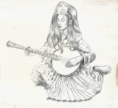 Obraz Banjo Player - vektorové ilustrace (převést)