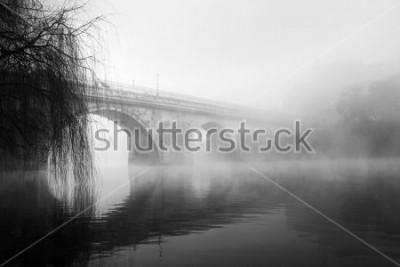 Obraz Barcelos historické části na mlhavé ráno (HDR černobílé fotografie)  t