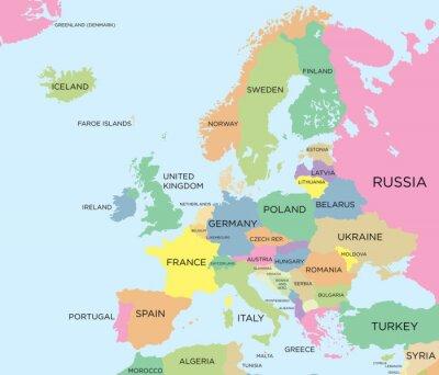 Obraz Barevná politická mapa Evropy