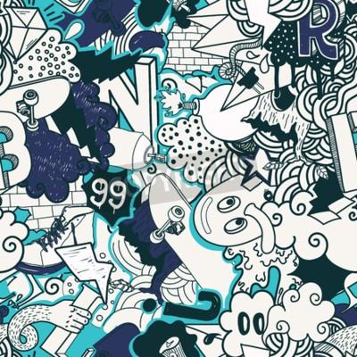 Obraz Barevné bezešvé vzor. Graffiti čmáranice street art ilustrace v modré barvě. Složení bizarní prvky a znaky pro skateboard, streetového oblečení, Streetwear, tapety textilní tkaniny
