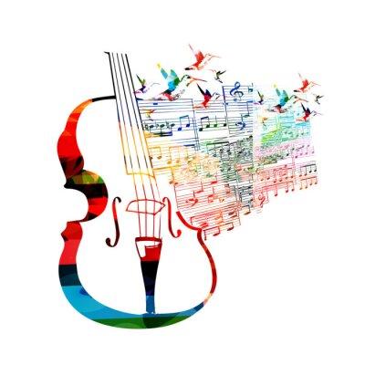 Obraz Barevné cello design s kolibříci