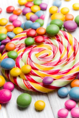 Obraz barevné cukroví a lízátko