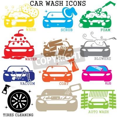 Obraz barevné ikony mytí na bílém pozadí