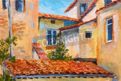 Obraz barevné olejomalba - střechy domů, Evropská ulice, umění impresionismu