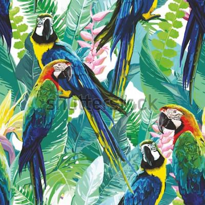 Obraz barevné papoušky a exotické květiny