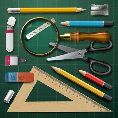 Obraz Barevné školní potřeby, vektorové ilustrace eps10.