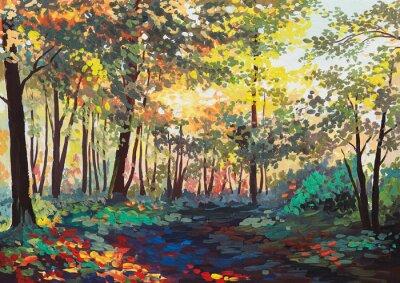 Obraz barevný les se stromy na jaře při západu slunce, olejomalba