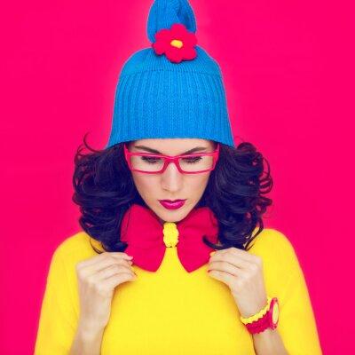 Obraz barevný portrét funny girl s lukem