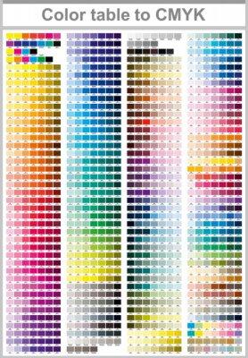 Obraz Barevný stůl Pantone na CMYK. Barevná zkušební stránka. Ilustrace barev CMYK pro tisk. Vektorová paleta barev