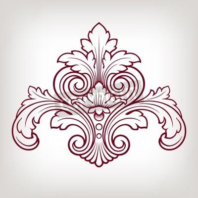 Obraz Barokní vintage květinový design rámu vzor element rytí retro styl