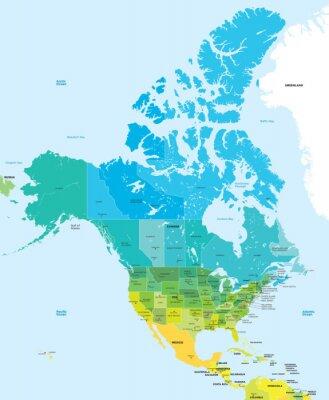 Obraz Barva mapa USA a Kanady