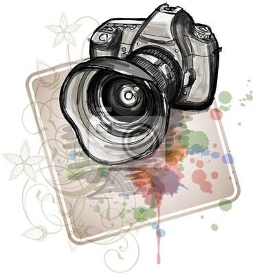 Barva skica z digitálního fotoaparátu a květinové kaligrafie orn