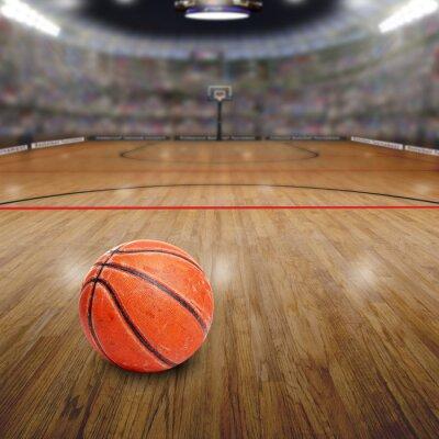 Obraz Basketbal Arena s míčem na kurtu a kopírování prostor. Vyneseným v Photoshopu.