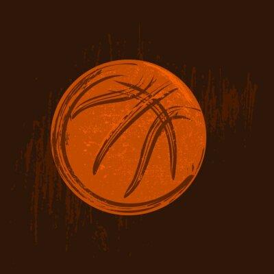 Obraz basketbal symbol kreslení s černými tahy tmavé pozadí