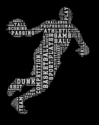 Obraz Basketbalista slovo mrak, basketbal typografie pozadí