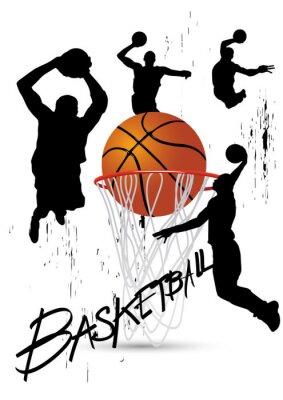 Obraz basketbalový hráč v pozici skákání na bílém