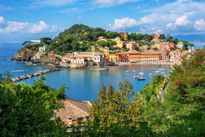 Bay of Silence and Sestri Levante Old town, Italy