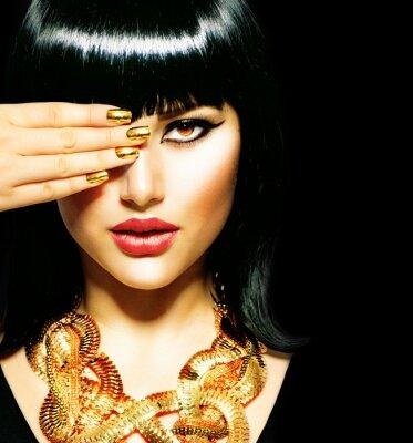 Obraz Beauty Brunette egyptský Woman.Golden Příslušenství