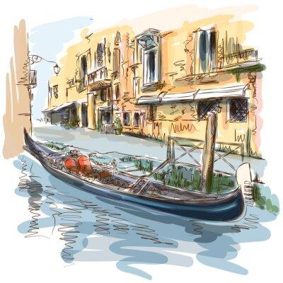 Benátky - Ancient budova a gondola