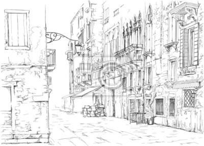 Benátky - Calle Fondamenta Megio. Starobylé budově