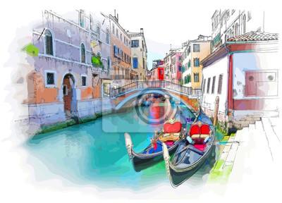 Benátky - Calle Fondamenta Megio. Starobylé budově a gondola. vektorové kreslení