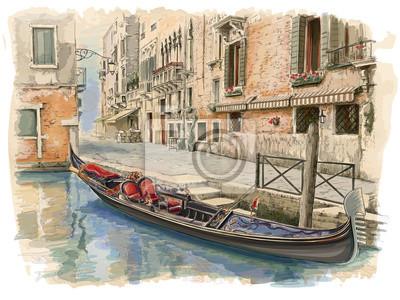 Benátky - Calle Fondamenta Megio. Starobylé budově & gondola