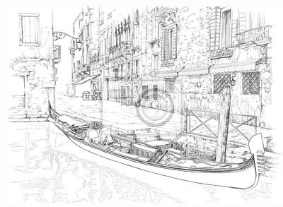 Benátky - Calle Fondamenta Megio. Starobylé budovy a gondola. Vec