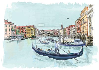 Benátky - Canal Grande. Pohled na Ponte di Rialto