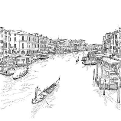 Benátky - Canal Grande. Pohled z mostu Rialto
