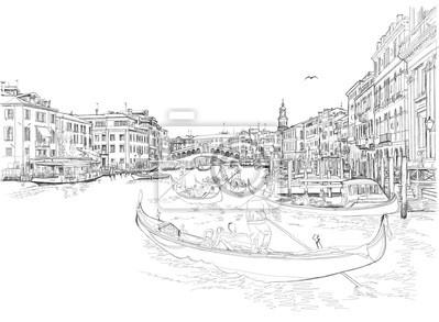 Benátky - Canal Grande. Pohled z mostu Rialto. Vektorové kreslení