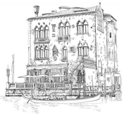 Benátky - Canal Grande. Starobylé budově & gondola